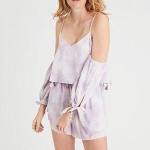 2/$40 American Eagle Lilac Tie Dye Tassel Romper
